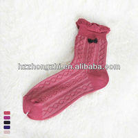 Sweater knitted with lace cuff fashion pretty girls tube socks
