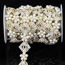 New Fashion Elegant Rhinestone Crystal Pearl Chain Trim R2948F01