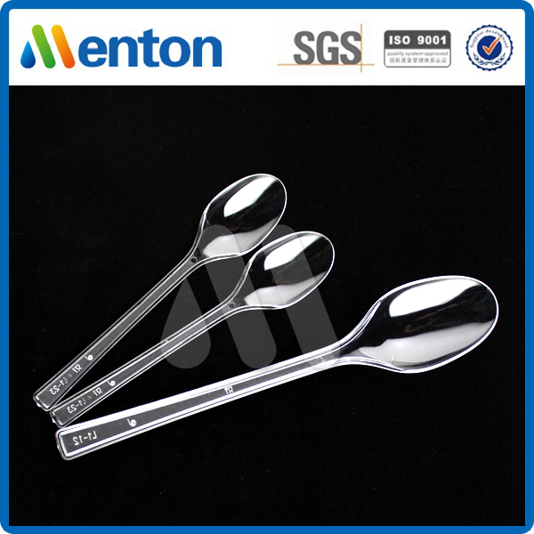 New Disposable Transparent Pure PS Hard Plastic Spoon