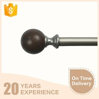 Fashion classical round shape wood finish curtain rod set