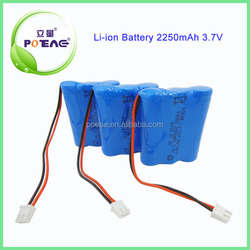 Deep cycle 2250mah 3.7v battery cylinder lithium ion battery pack