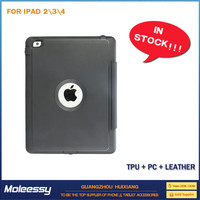 Security stand leather case for ipad 4/3/2
