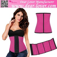 Rosy 9 Steel Bones Latex Waist Trainer xxl 3 Mix Colors Sex Corset