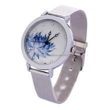 ladies fashion photo watch face steel woven band watches