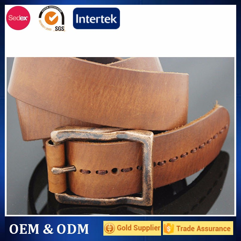 western jeans style brown genuine leather belt for men