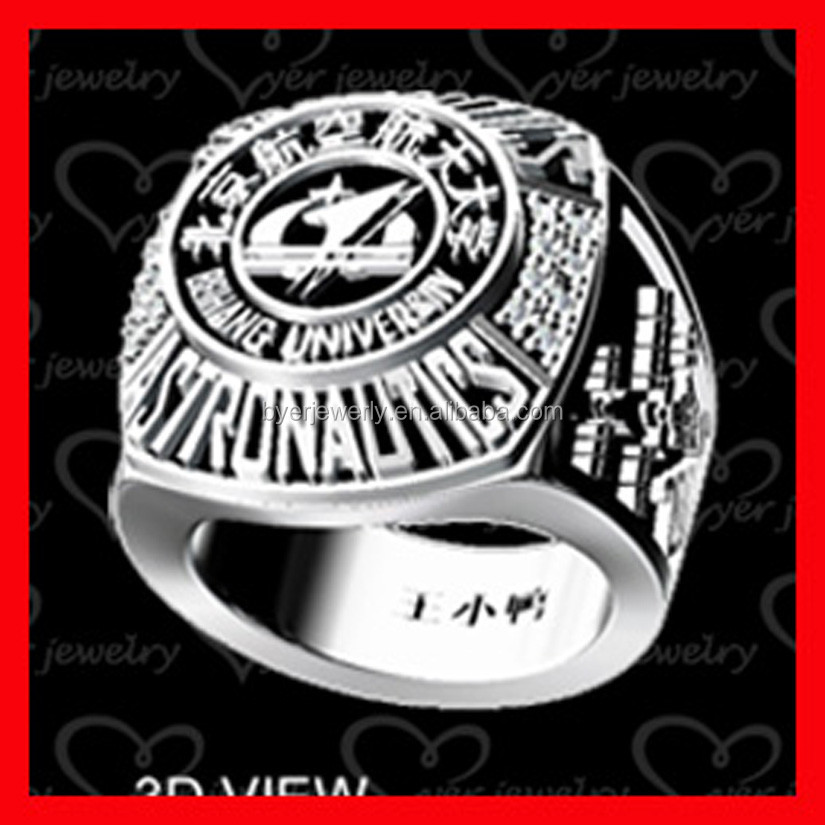 New arrival 2015 custom made school ring for college student product with deep engraving