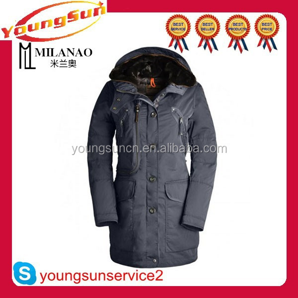 Hot sale brand name long winter coat for women