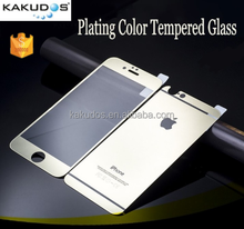 Hot Sale 2.5D 9H 0.33mm Gold Color Mirror Tempered Glass Screen Protector for Iphone 6 plus