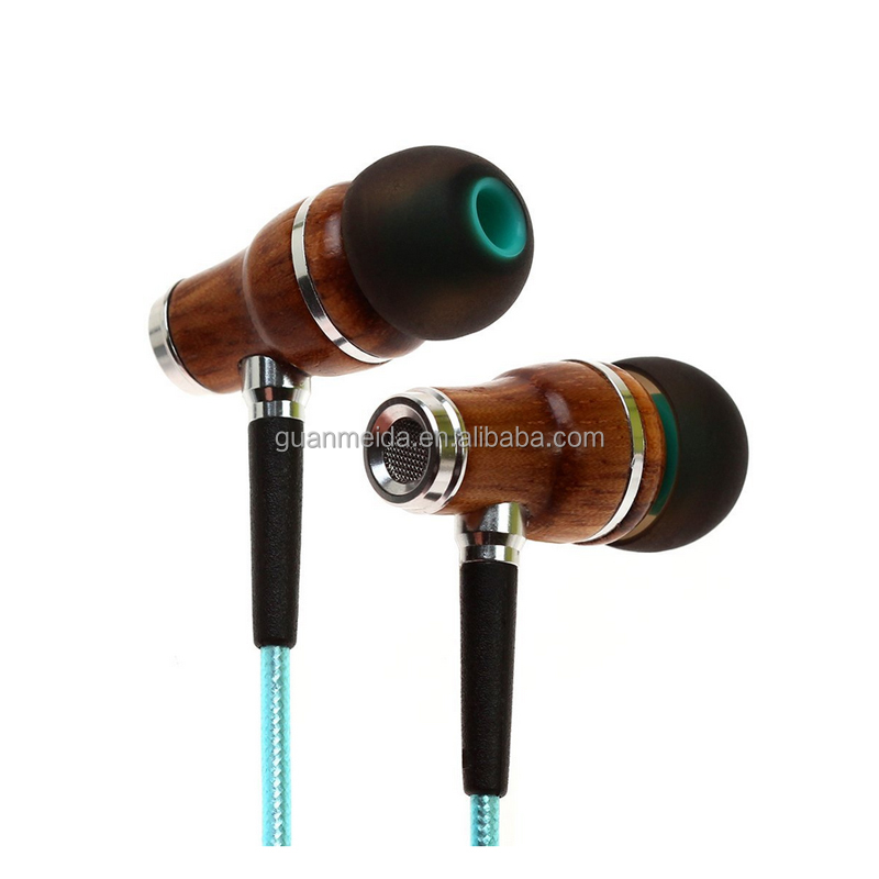 wooden earphones 3.5mm fashion nice gift mobile phone mp3 MP4 earphone headphones