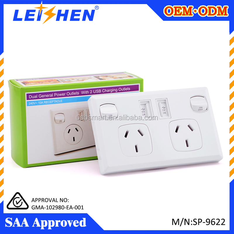 2016 Hot selling 2 switch and usb ports Australia usb wall socket with usb 240v