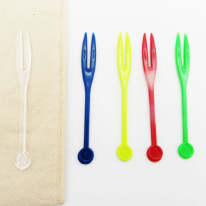 Disposable plastic PS mini fruit forks with wholesale price