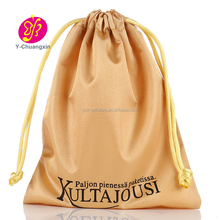 Customized drawstring gold satin gift Bags with black logo