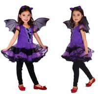 Masquerade Party Bat Cosplay Dress Witch Clothing wholesale Halloween Costume for Kids Girls with Wings Headband Girl Dresses