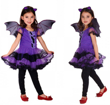 Masquerade Party Cosplay Dress Witch Clothing wholesale Halloween Costume for Kids Girls with Wings Headband Girl Dresses