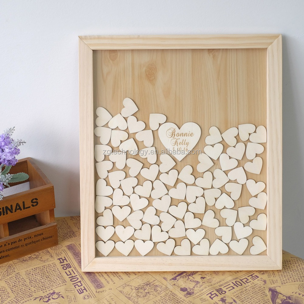 Custom Wedding guestbook alternative Personalised wood Heart Guest book Drop box Signature book wedding decoration