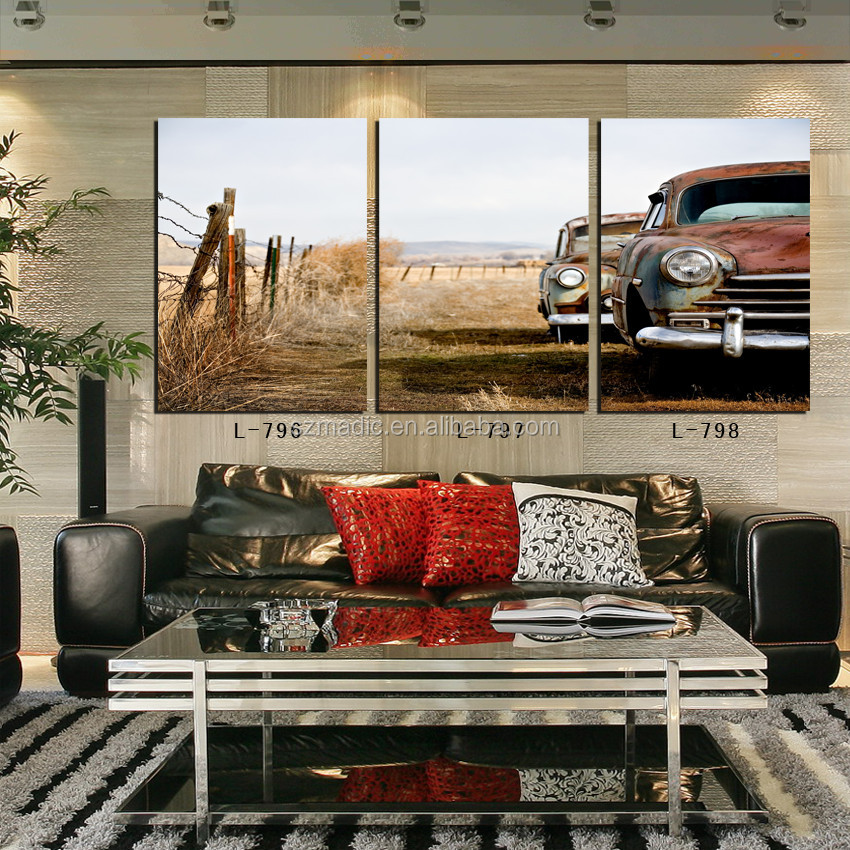 Oil Painting Gallery High Quality Canvas Prints 3 Panel Western American Cowboy Style Landscape Wall Art Decor