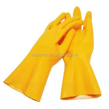 Household Natural Rubber Latex Glove With Cotton Flocked Lined For Kitchen Cleaning Dishwashing