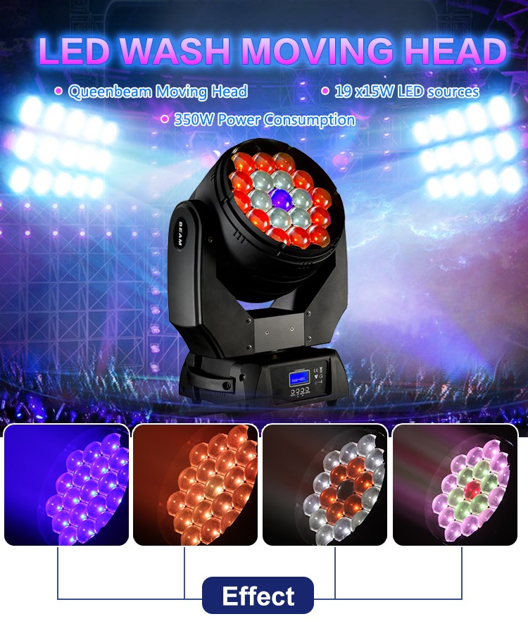 factory direct rgbw zoom 19x15W 4in1 led moving head wash light with best price