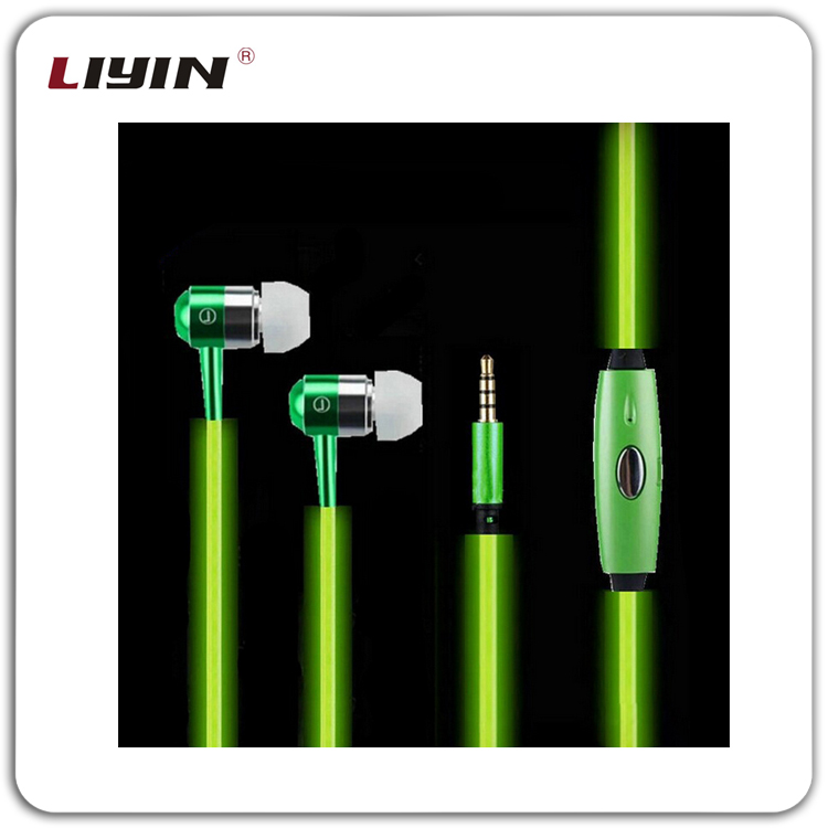 Fashion wholesale glowing earbuds earphone ,colorful wired stereo earphone with mic