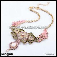 Bling Glam Sakura Amethyst Emerald Crystal Indian Fresh Flower Garlands statement necklace