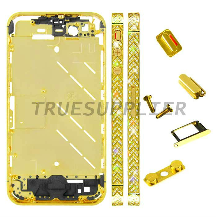 New luxury design Silver Diamond Housing Middle Plate for iPhone 4S Arrow Design Golden Color