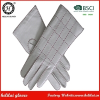 HELILAI Leather Gloves ,White Hand Stitching Lady Sheep Leather Gloves