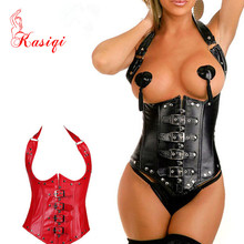 Factory wholesale good quality under bustier Women Red Pu leather corset sexy plain black PU neck corset