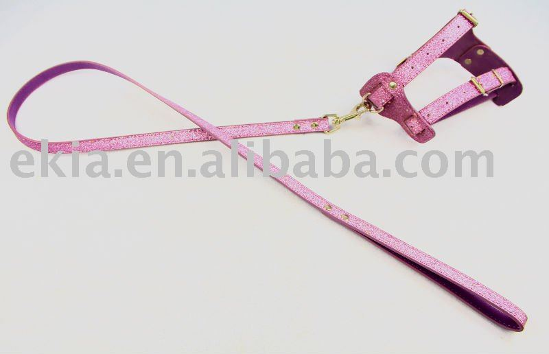 Pink PU Dog Leash And Harness For Small Medium Dogs