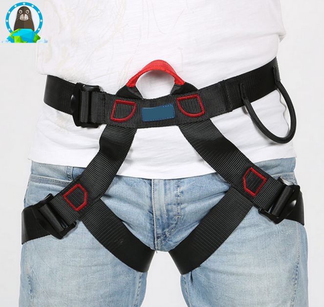 Outdoor climbing safety belt equipped with safety belt