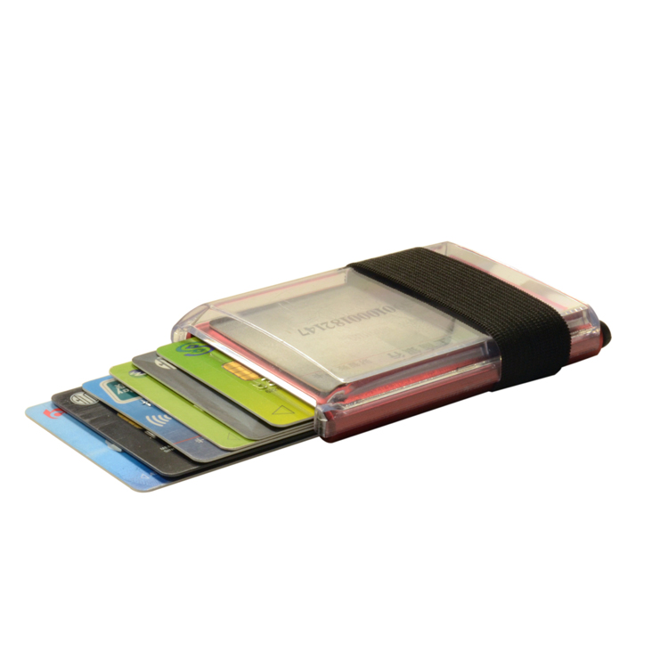 Aluminum metal automatic business card holder credit card case with plastic cover