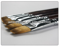 Flat head 206 wooden handle nylon hair art brushes for oil /acrylic /gouache /water color paint