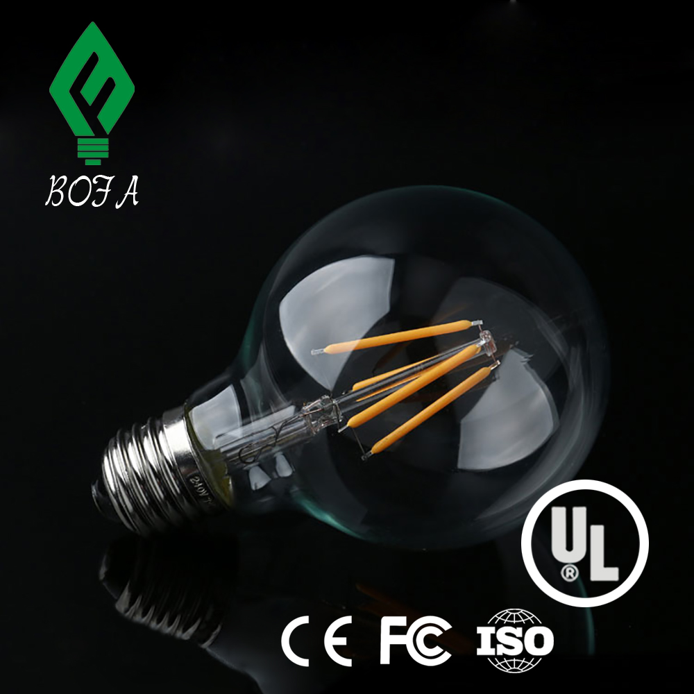 E27 LED filament bulb G80 3W filament LED golf ball light bulb 360 degree