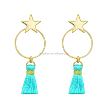 Fashion new start round rope statement silk thread earrings