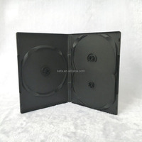 14mm 3 Triple Discs Plastic Black DVD Case Without Tray