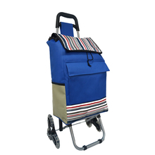Foldable 600D oxford trolley shopping bag with wheels