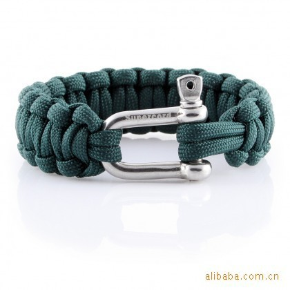 Newest survival Para Cord bracelet with <strong>U</strong> metal buckle 550 Paracord Parachute Cord bracelet