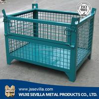 Storage Wire Mesh Cargo Folding Container, Warehouse Steel Cage Bin