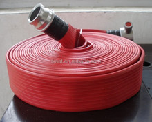 Red PVC covered fire hose with BS coupling