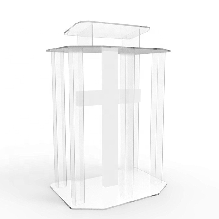 Transparent Acrylic Lucite Podium Church Pulpit Lectern with White Cross