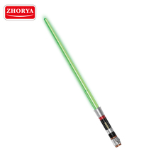 zhorya kids cosplay cheap plastic green fake laser light up toy sword with adjustable length function