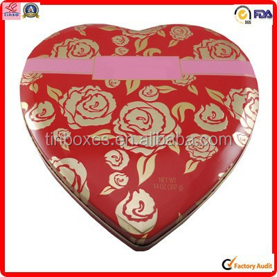 manufacturer packing food metal heart shaped tin for gift box