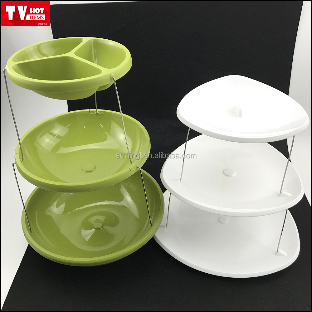 AS SEEN ON TV 3 tiers twist foldable party fruit bowls space saving new design food plates tray