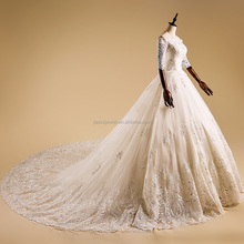 alibaba wholesale wedding dress A line ladies gown tulle trailing bridal dress lace ball gown
