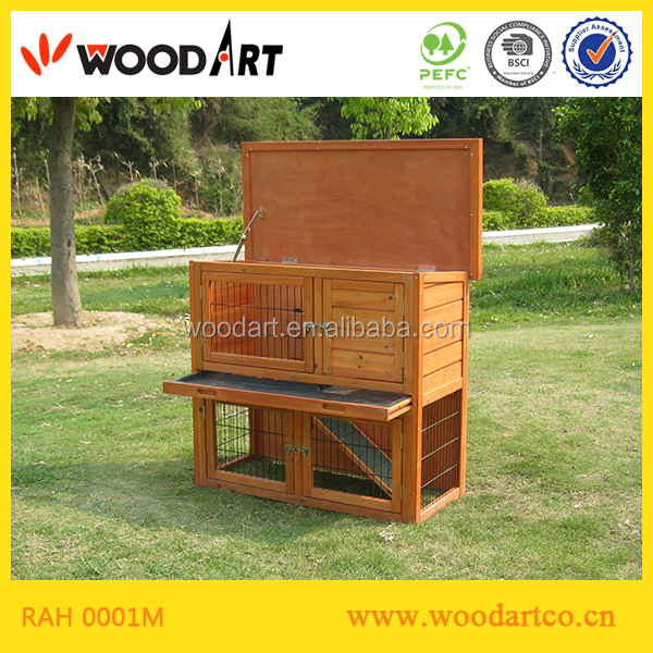 Cheap yellow wooden quadrate rabbit breeding cages hutch with trap