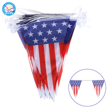 Plastic 4th Of July American Flag Party Decoration Bunting Flags Photo Booth Props Favors Pennant Banner
