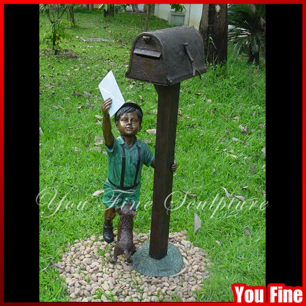 Outdoor Boy Bronze Mailbox Sculpture