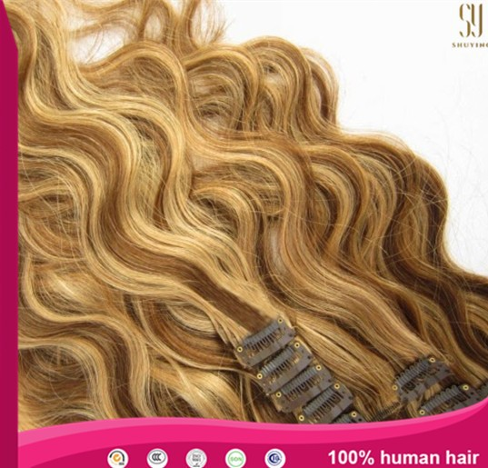 Hot sale Full head set body wave ombre color clips in hair extension mix colour clips on hair extensions