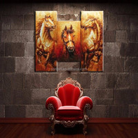 Group Horse Oil Painting On Canvas Handmade 3 Pieces Group Horses Oil Paintings For Wall Decoration Hand Painted Horses Paints