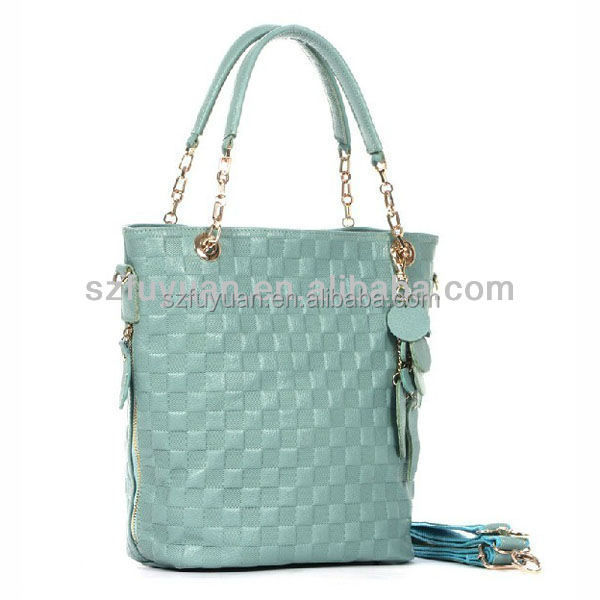 Wholesale hot popular scalloped tote shoulder no label faux leather handbag