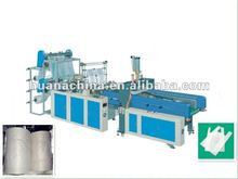 Hot sealing colding cutting four line bag making machine